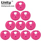 10 Pink KEYED Alike Stainless Steel Disc Padlock 2-3/4'', Self Storage disc Lock #7993x10