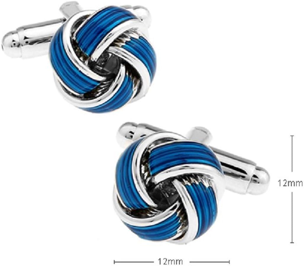 MRCUFF Presentation Gift Box Knot Blue Pair Cufflinks /& Polishing Cloth