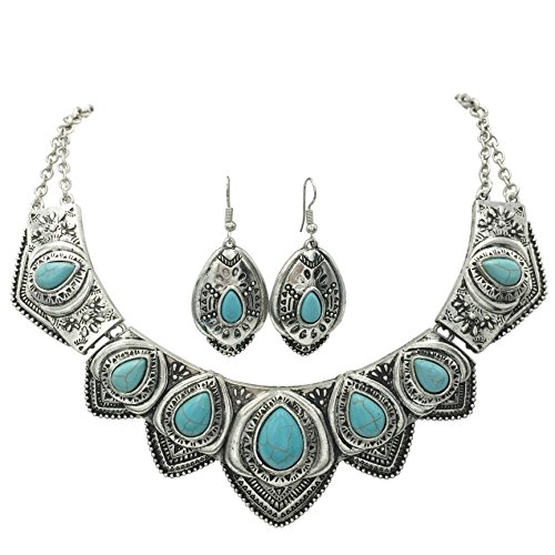 Western Style Imitation Turquoise Necklace and Earrings Set (Silver Tone Scalloped)