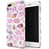 Glitbit Makeup Junkie Glam Fab Girl Pink Queen Nail Polish Art Artist MUA Emoji Lip Lipstick Glitter Addict Thin Design Durable Hard Shell Plastic Protective Case For Apple iPhone 7 Plus / 8 Plus