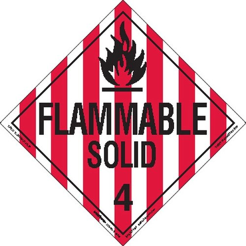 Labelmaster Z-EZ13 Flammable Solid Hazmat Placard, Worded, E-Z Removable Vinyl (Pack of 25)