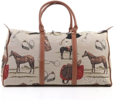 Signare Tapestry Large Duffle Bag Overnight Bags Weekend Bag for Women with Horse Design BHOLD-HOR
