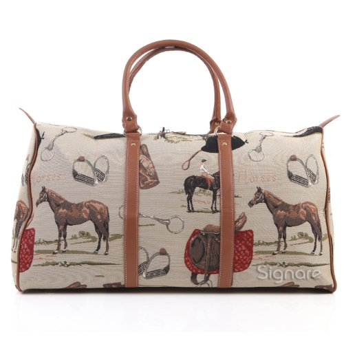 Signare Tapestry Women Tan Canvas Carry-on Overnight Weekender Duffel Travel Bag with in Horse Design BHOLD-HOR