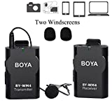 BOYA 3.5mm Lavalier Wireless Microphone Mic with Real-time Monitor for IOS Smartphone iPad Tablet DSLR Camera Sony RX0 Camcorder Audio Recorder PC Audio/Video (2 Foam Protectors Included)