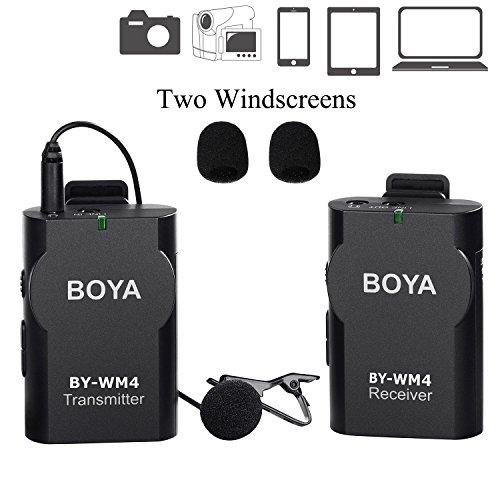 Newest BOYA BY-WM4 Universal Lavalier Wireless Microphone Mic with Real-time Monitor for IOS Smartphone Tablet DSLR Camera Sony RX0 Camcorder Audio Recorder PC Audio/Video (Wireless Microphone For Camcorder)