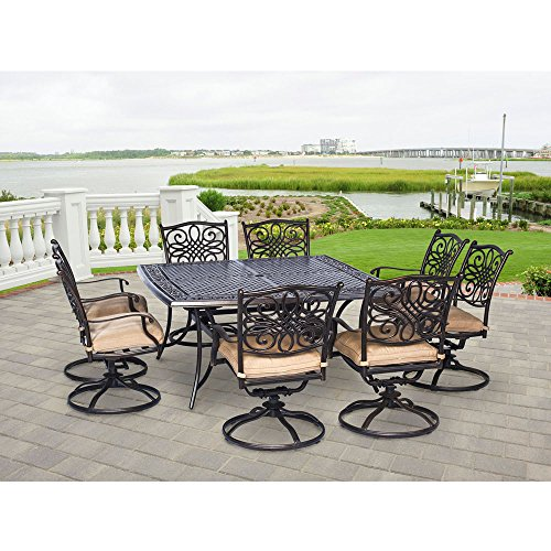 Hanover TRADDN9PCSWSQ-8 Traditions 9-Piece Rust-Free Aluminum Patio Dining Set Outdoor Furniture, 60 x 60, Tan (Home Patio Dining Depot Set)