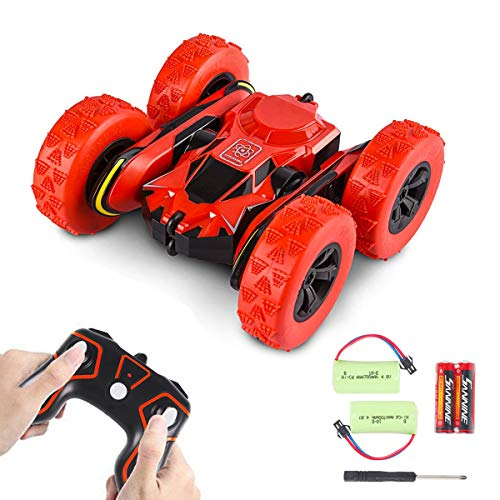 Stunt Rc Cars Toys, Remote Control Electric Cars Gift for Kids Adults, 1/28 2.4Ghz Off Road Vehicles Car Double Sided Rotating Tumbling Transformation 360 Degree Flips (Red - with 2 batteries)