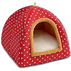 Pet Yurt Cave Nest Adecuado para Perros pequeños/Gatos, Carpa para Gatos/Cama para Gatos - Pelusa + Lona de Alta Calidad - S: 33 * 33 * 30 cm,Pink,L