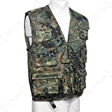 Multi Pocket Waistcoat Multipurpose Vest 14 Pockets Fishing Hunting Flecktarn SIZE L