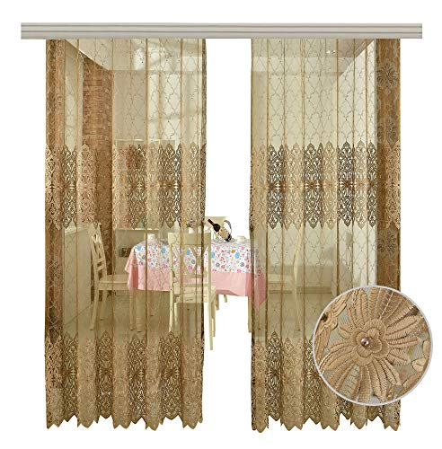 - BW0057 Europern Style Classic Embroidered Bead Sheer Curtain Home Decoration Transparent Rod Pocket for Bedroom Living Room-001(1 Panel, W 50 x L 63 inch, Brown) 1980688C1BYGBN15063-8510