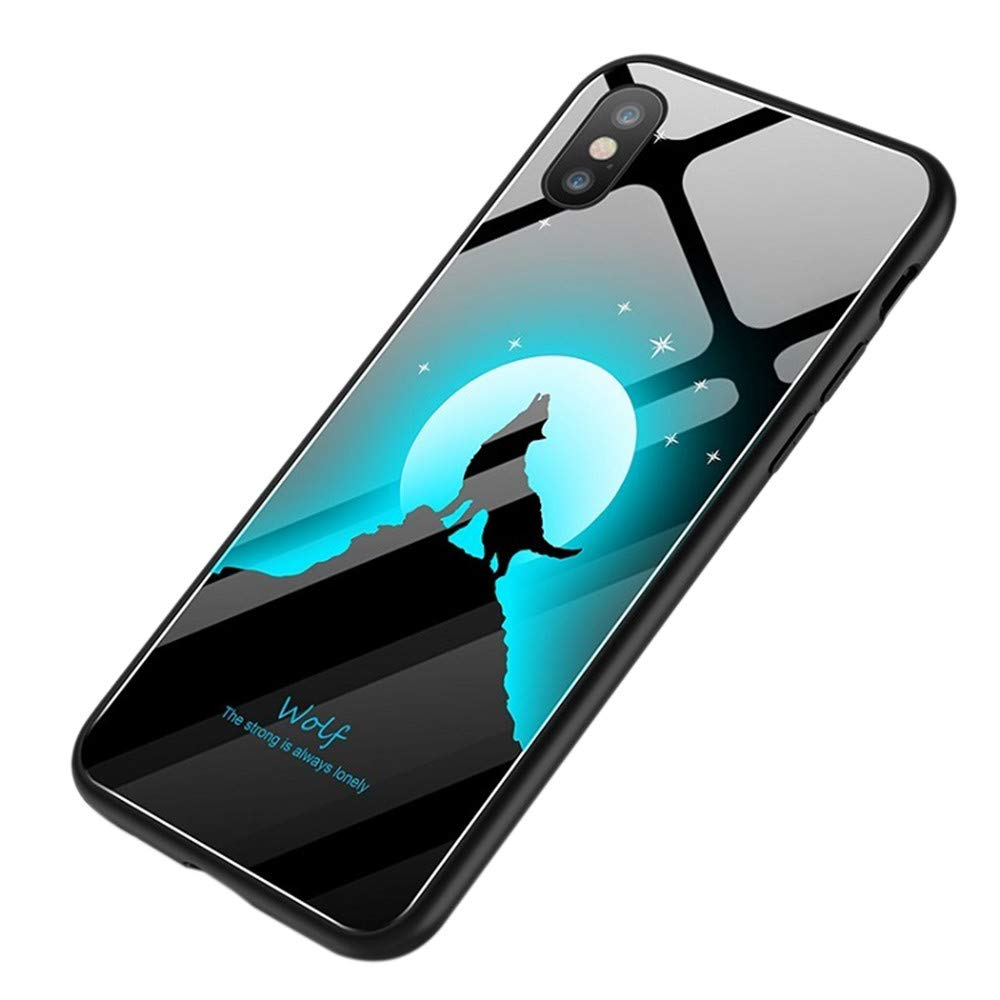 Fashion Design iPhone XS Case,JDgoods Explosion Proof Painted Tempered Glass Cover Case For iPhone XS 5.8inch (A)