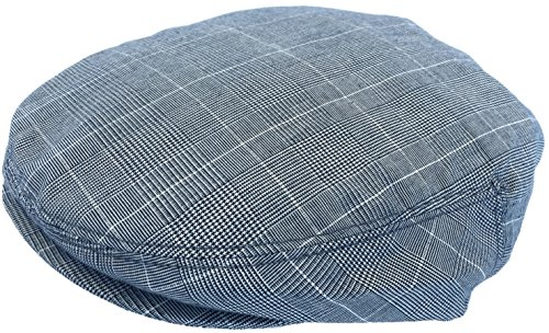 - Summer Plaid Ivy Scally Driver Cap Polyester Flat Hat (X-Large, Light Blue)