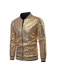 Eyiou Mens Sequin Jacket Metallic Christmas Nightclub Disco Styles Zip Up Varsity Baseball Bomber Jacket