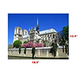 lendly Canvas Wall Art Famous Old Architecture Canvas Artwork - 1Piece Framed Canvas Art for Wall Decor - Contemporary Canvas Picture for Notre Dame Cathedral by The Lake (Multicolor)