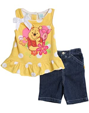 Baby Girls' Winnie The Pooh 2 Piece Knit Shirt And Woven Pant Set