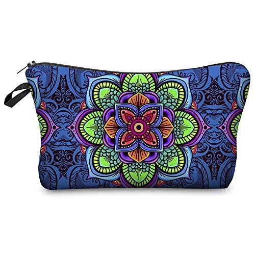 Llamazing Super Funny 3D Printing Womens Cosmetic Bag Washing Bag Mini Bag Pencil Holder (Mandala Dark Blue)