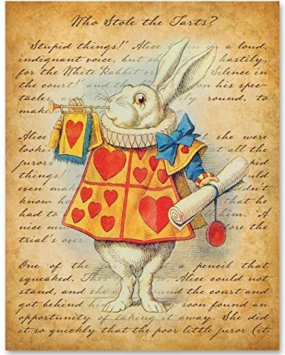 Alice in Wonderland White Rabbit - 11x14 Unframed Alice in Wonderland Print - Makes a Great Gift Under $15 for Disney Fans or Girls Room
