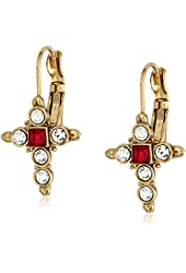 The Vatican Library Collection Crystal Cross Leverback Earrings