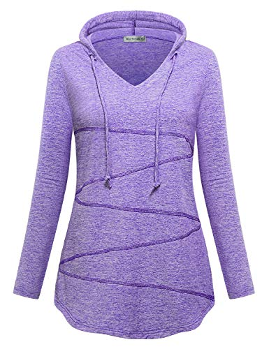 Miss Fortune Purple Sweatshirt Hooded Women, Yoga Tops Ladies Athleisure Hoodie Exercise Active Shirts Workout Tees Solid Shirttail Hem Out Wear Casual M