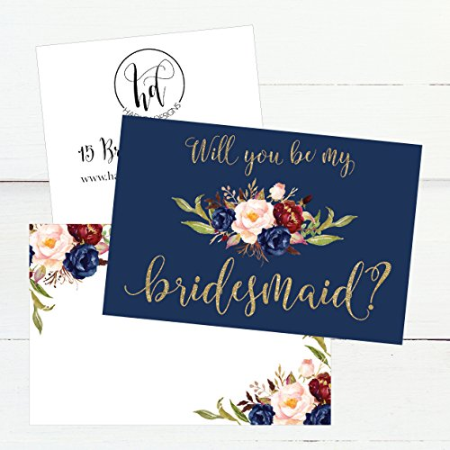 15 Will You Be My Bridesmaid Cards Navy Floral, Cute Bridesmaids Proposal Note Cards For Gifts, Blank Ask To Be Your Bridesmaids Invitations Set, Asking To Be A Bridesmaid Invite Photo #3
