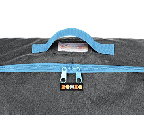 ZOHZO Car Seat Travel Bag — Adjustable, Padded Backpack for Car Seats — Car Seat Travel Tote — Save Money, Make Traveling Easier — Compatible with Most Name Brand Car Seats (Gray with Blue Trim)