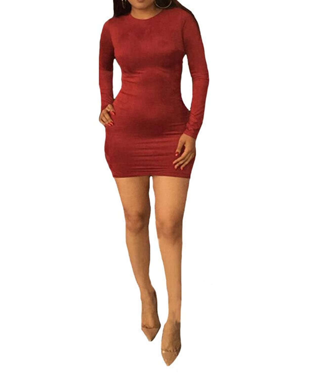 Womens Sexy Long Sleeve Back Zipper Slim Bodycon Party Clubwear Mini Dress