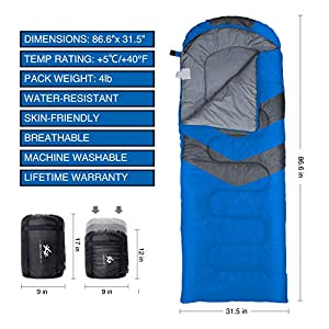BESTEAM Camping Sleeping Bag, 3 Season Warm & Cool Weather, Waterproof, Lightweight, Great Adults & Kids, Family Camping, Backpacking, Traveling, Hiking, Outdoor Activities (Blue)
