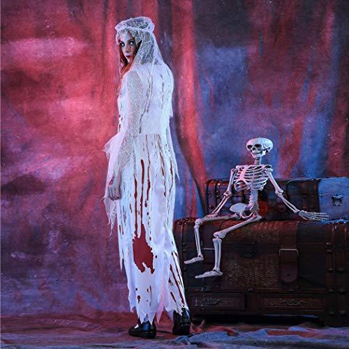 de Adeshop de elegantes Vestido disfraces Sexy Vestidos Halloween 2 Conjunto de Fiesta de de Fiesta Velo Zombie Novia piezas disfraces terror Mujeres Fiesta irregulares Corpse White Vestido pWp6Eqv