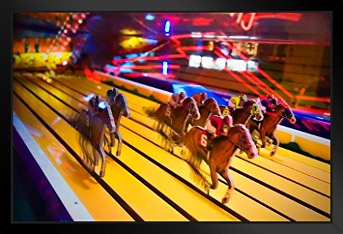 Vintage Horse Race Amusement Park Arcade Game Photo Art Print Framed Poster 20x14 inch
