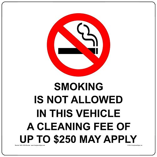 Smoking Not Allowed in Vehicle Custom Fee Label Decal with Front Adhesive, 3x3 inch 4-Pack Clear Vinyl for Transportation by ComplianceSigns