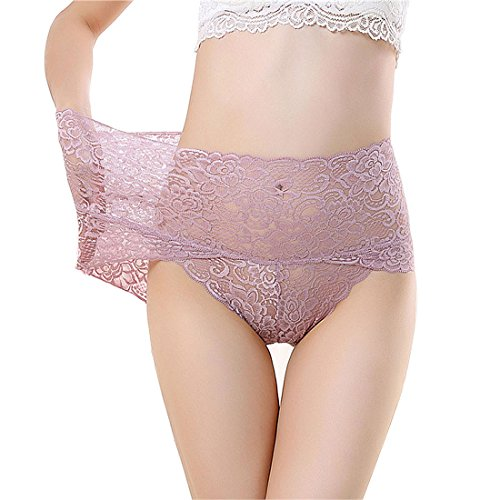(Womens Breathable Underwear Cotton High Waist Panties Lace Trim Comfort Briefs Pink Tag M)