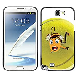 YiPhone /// Prima de resorte delgada de la cubierta del caso de Shell Armor - Cute Funny Tennis Ball Bee - Samsung Galaxy Note 2 N7100