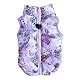 Norbi Pet Dog Jacket Puppy Vest Winter Autumn Doggie Warm Cotton Skull Coat for Small Breed Dogs and Cat(G Purple)