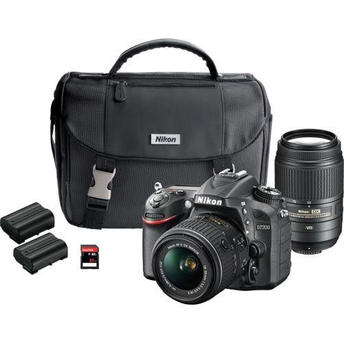 Nikon D7200 DX-format DSLR Dual Lens Wifi Camera OUTFIT - 24.2 megapixel D7200 DSLR Camera, AF-S DX Nikkor 18-55mm f/3.5-5.6G VR, AF-S DX nikkor 55-300mm F/4.5-5.6G ED VR, System Case, 2 EN-EL15 REchargebale Li-ion Batteries, 32GB Ckass 10 SD Memory Card by Nikon