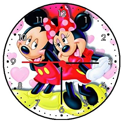 RUSCH Mickey Mouse and Minnie Mouse Wall Clock: Home & Kitchen