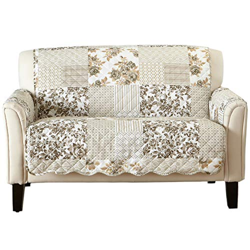 (Great Bay Home Patchwork Scalloped Stain Resistant Printed Furniture Protector Brand. (Loveseat, Taupe))