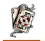 Gambling Poker Ace Jack Suited Wall Decals Stickers USColor008, Black w/ Red White, 72 Inches