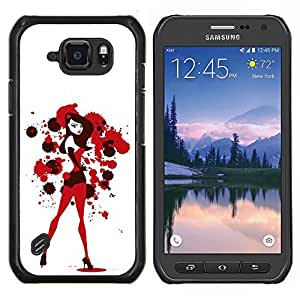 EJOOY---Cubierta de la caja de protección para la piel dura ** Samsung Galaxy S6Active Active G890A ** --Sexy Bunny Girl Blanco Rojo Sangre