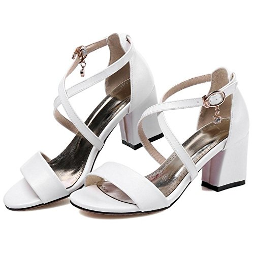 TAOFFEN Women Cross Strap Sandals Shoes White