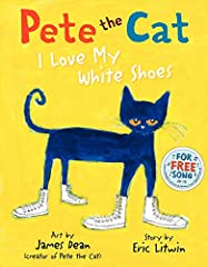 Don't miss the first and bestselling book in the beloved Pete the Cat series!               Pete the Cat goes walking down the street wearing his brand-new white shoes. Along the way, his shoes change from white to red to blue...