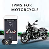 Motorcycle Bluetooth Tire Pressure Monitoring System TPMS Mobile Phone APP Detection External Sensor Bluetooth 4.0 TPMS with 2 Tire Sensors for Motorcycles