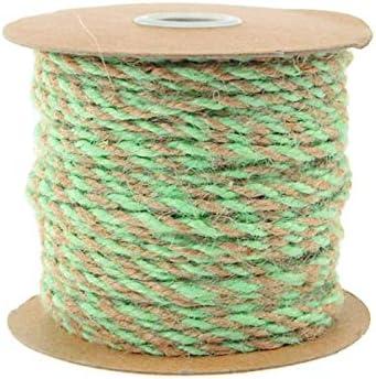 5//64-Inch Homeford Firefly Imports Jute Twine Cord Ribbon Bi-Colored Moss Green 50 Yards