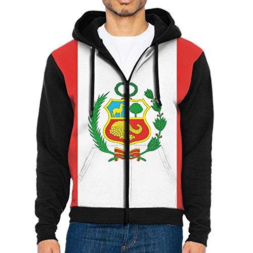 WANING MOON Men's Peru Flag Baseball Sweater Hit Color Hoodie (In Peru Christmas Traditions)