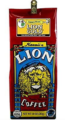 LION Gold Coffee, Whole Bean, 10 Ounce (Pack of 60)