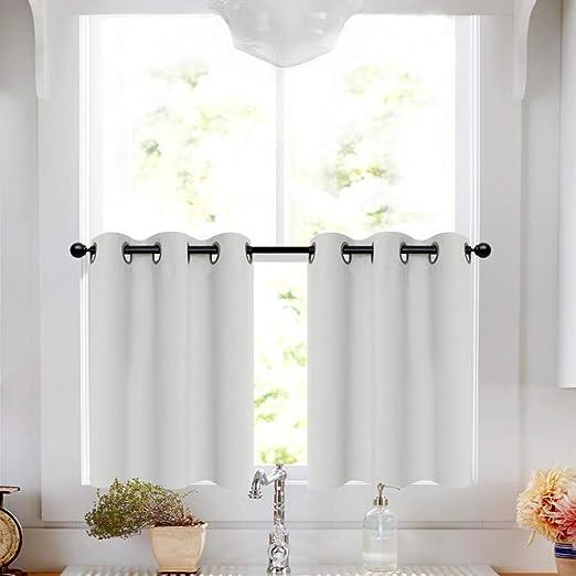 Tier Curtains White 36 inch Grommet Bathroom Window Curtain Tiers Room  Darkening Tiers Kitchen Windows Short Curtains Small Window, 2 Panels