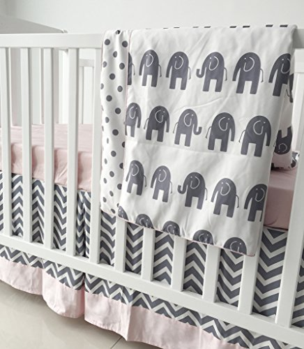 Sahaler Pink Grey Chevron Elenphant 3 Piece Crib Bedding Set Baby Comforter Sheet Set [並行輸入品]   B07GH3WJQL