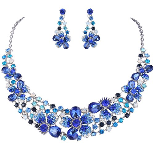(EVER FAITH Silver-Tone Austrian Crystal Hibiscus Flower Necklace Earrings Set Blue Sapphire-Color)
