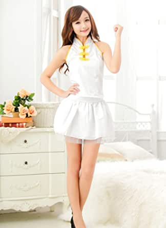 Fashion Comfortable Sleeveless And Backless White Lingerie Dress For Women(e045)