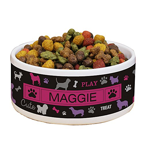 - GiftsForYouNow All Breeds Personalized Pet Food Bowl, Pink