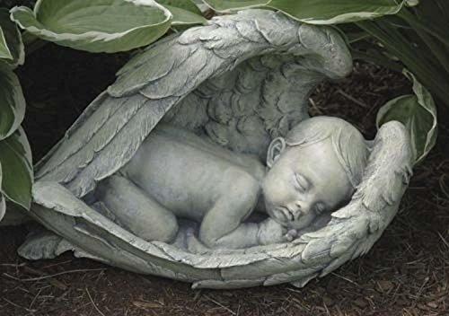 """14.5"""" Joseph's Studio Sleeping Baby in Angel Wings Outdoor Garden Figure Statue"""